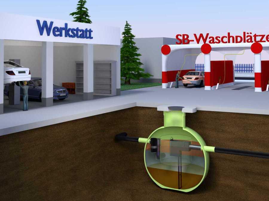 Ölabscheider von Haase mit Zulaufverschluss bei Tankbau Willberger, Haase-Partner in Bayern